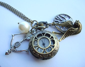 Bow Arrow Pearl Mockingbird Pocket Watch Necklace with Pearl and Forest Charm