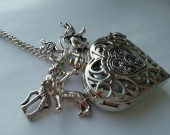 Lion King Pocket Watch Necklace Silver Heart