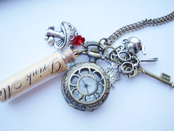 Alice in Wonderland Drink Me Charm Pocket Watch Necklace