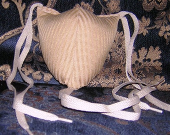 Renaissance Padded Tan Striped Codpiece with Ties