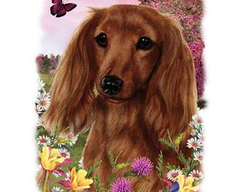 "DACHSHUND Red Longhair Dog with Flowers on ONE 18 x 22 inch inch Fabric Panel for Quilting and Sewing. Picture is 9"" x 11""."