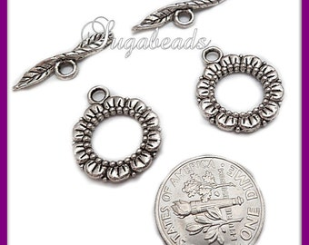 4 Antiqued Silver Flower Toggle Clasps 20mm