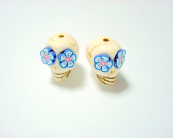 Ivory and Blue Flower Eyes in Day of The Dead Sugar Skull Beads-12mm