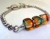Green  Bracelet,  Cube Bracelet, Shaded Glass Bracelet, Charm Bracelet,Glass Cube Bracelet SALE