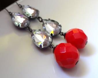Long Earrings, Glass Drop Earrings, Clear Crystal Earrings, Red Earrings, Long Dangle Earrings SALE Gunmetal Earrings Sparkly Earrings