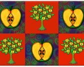 Kitchen Art Glass Cutting Board with Apples and Trees