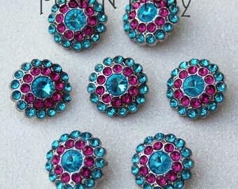 5 PIECES Gem Elegant Button 24mm - TURQUOISE/HOTPINK