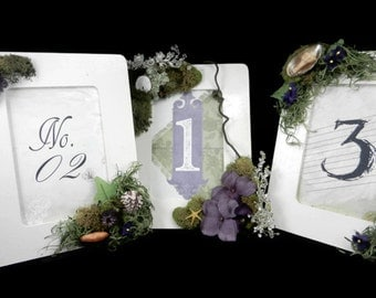 Custom Table Numbers with Frames - Beach Wedding - 10 custom frames and numbers