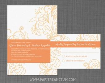 Modern Floral Wedding Invitation Set