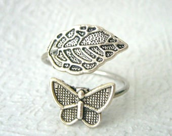 silver butterfly ring wrap style, adjustable ring, animal ring, silver ring, statement ring