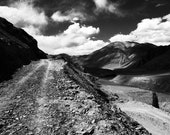 On the Road - 5x7 print in 8x10 mat, black and white photography, mountain photography, ladakh photograph