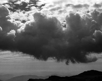 Transylvanian Alps II - 8x10 paper, traditional black and white photograph, mountain photography, Transylvania photography, clouds