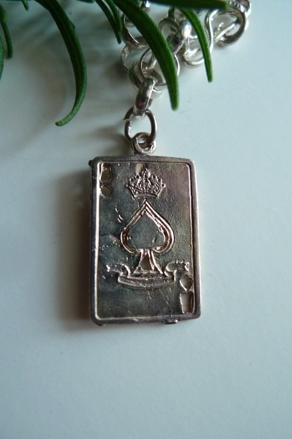 ace of spades sterling silver vintage playing card charm 1980s