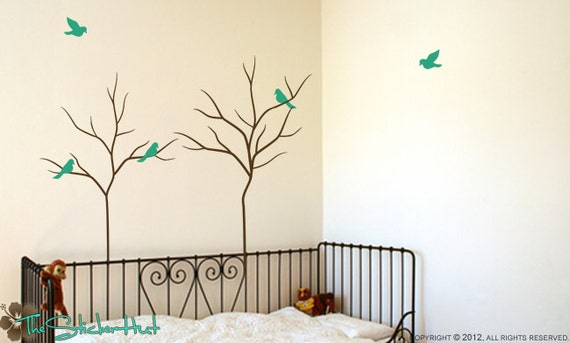 2 Trees with 5 Birds - Kids Nursery or Bedroom Decor - Vinyl Lettering - Vinyl Wall Art - Home Decor - Wall Graphics Decals Stickers 1390