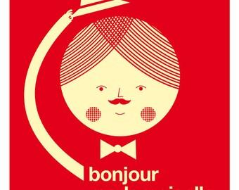 Bonjour mademoiselle red big print