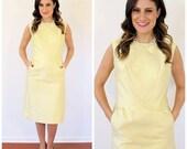 60s Lemon Sherbert Silk Shantung Shift Dress Cocktail Dress, Size XS to SMALL