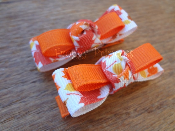 Autumn Tuxedo Bow Set  - Orange Leaves - No Slip Clippies Set of 2