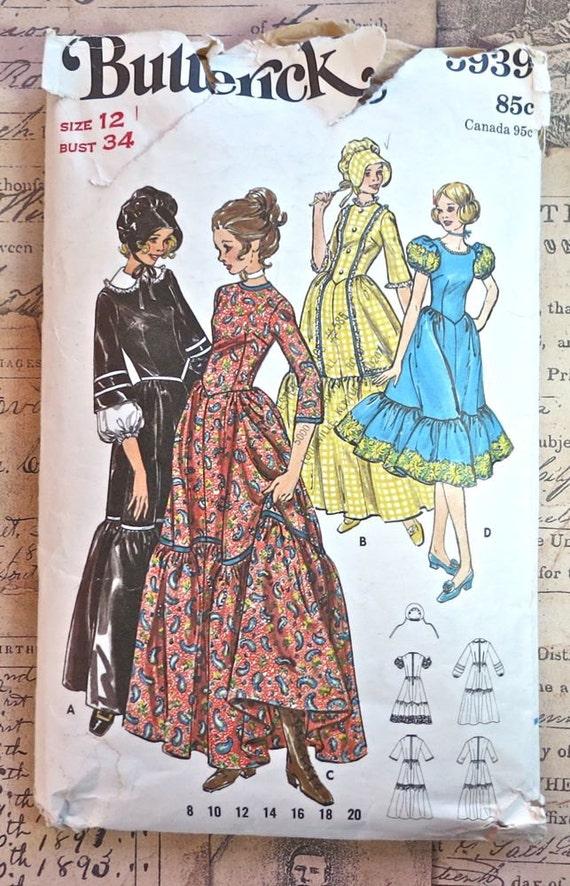 Butterick 5939 - Vintage 1970s Womens Centennial Dress Pattern - Prairie Dress Costume With Bonnet