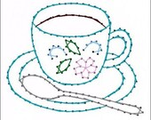 Floral Coffee or Tea Cup All Occasion Paper Embroidery Pattern for Greeting Cards
