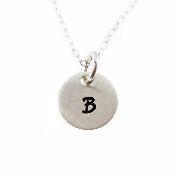 My itty bitty initial charm necklace - Hand Stamped Personalized Sterling Silver Keepsake Necklace