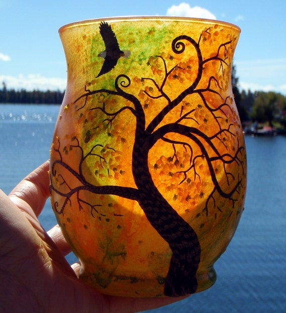 Autumn Maple with Eagle Soaring Sculpted onto Orange Recycled Glass Art Vase