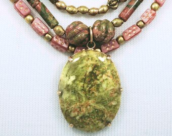 Three Strand Unakite Necklace - Pink & Green
