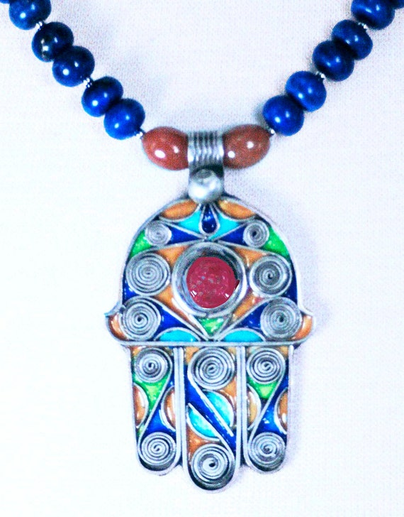 Moroccan Berber Enameled Hamsa Amulet with Life Spirals