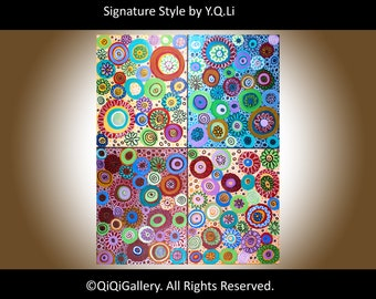 "Colorful Abstract Painting Original modern art Home Decor Wall art canvas art ""Kaleidoscope"" painting by QiQiGallery"