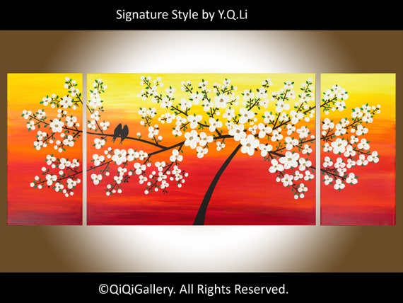 "Contemporary wall art 60"" extra large painting Colorful sunset Cherry Blossoms love birds art wall decor by qiqigallery"