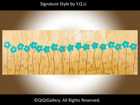 "Abstract Landscape Handmade PaintingOriginal Heavy Texture Wall Decor ""A Row Of Turquoise Flowers"" by QIQIGALLERY"