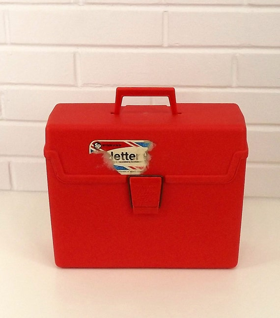 Vintage 70's Filing Box, Red/Orange, Handle and Latch, Sterling