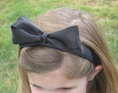 Alice headband Bow black Satin Halloween