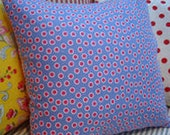 "ShaBBy CHiC 16"" PILLOW COVER Swedish BluE Red Dot CoTTage French Boho Print SHaM"