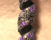 Dread Bead Silver Flowers on Purple Leaves Coil You Choose Hole Size