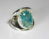 Glow in the dark, dichroic glass, sterling silver ring, Halloween ,statement, cocktail, gift