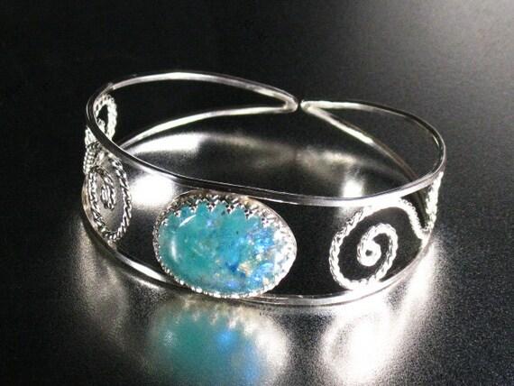 Glow in the dark, dichroic glass, sterling silver cuff, Halloween ,statement, gift
