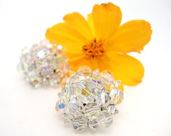 Vintage Bead Earrings Aurora Borealis Crystal Cut Clear Clip On Earrings Mid Century Costume Jewelry