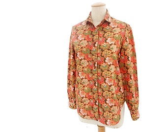 Vintage 80s Blouse Peter Pan Bow Red Green Gold Print Autumn Colors