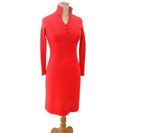 Vintage 70s Sweater Dress Red Knit Crochet Button Front Collar High Neck Long Sleeve Fitted Stretch size Extra Small XS