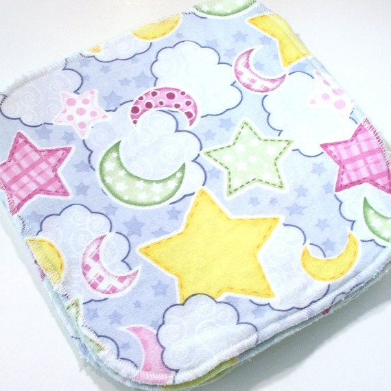 Baby Cloth Wipes 8 by 8 inch Serged Cloth Wipes/Washcloths - Night Sky - Flannel/Baby Terry- set of 5