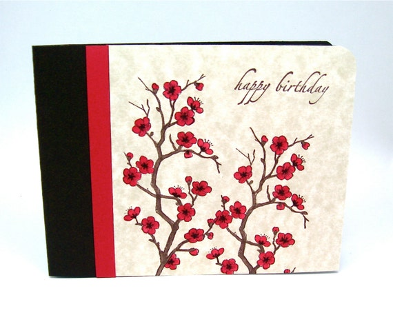birthday card - brown and red greeting card - cherry blossom card