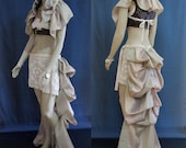 MOVING SALE // OOAK Steampunk Long Bustle Skirt and Matching Shrug - Burlesque Bellydance Victorian Clothing Costume