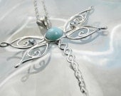 Silver Larimar Dragonfly Necklace - Sterling Silver Necklace with Blue Topaz - Dragonfly Necklace - Unique Dragonfly Jewelry