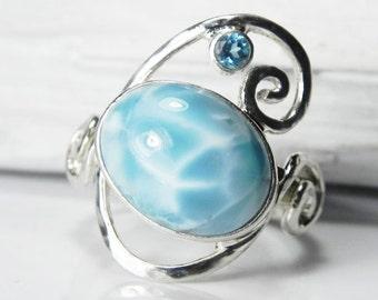 Sterling Silver Larimar Ring - Larimar Blue Topaz Ring - Swirl Ring - Larimar Blue Topaz Jewelry - Winter Blue, Aqua Blue, Ocean Inspired