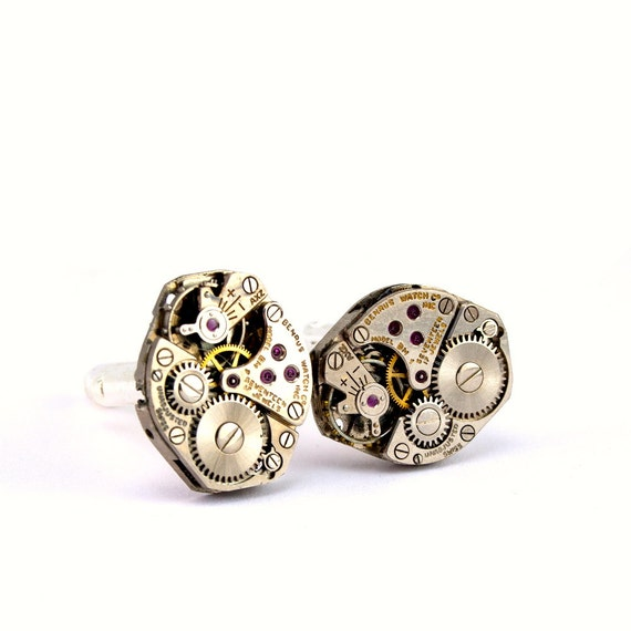 Steampunk Cufflinks - Beautiful Vintage Benrus Men's Clockwork Cuff link Design - PROMPTLY SHIPPED - Steampunk Jewelry by London Particulars