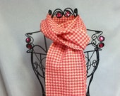 Handwoven Scarf:  Pink & Peach Houndstooth