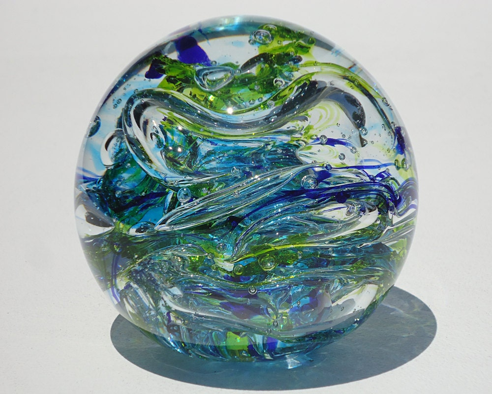Blue And Green Glass Paperweight Free Shipping