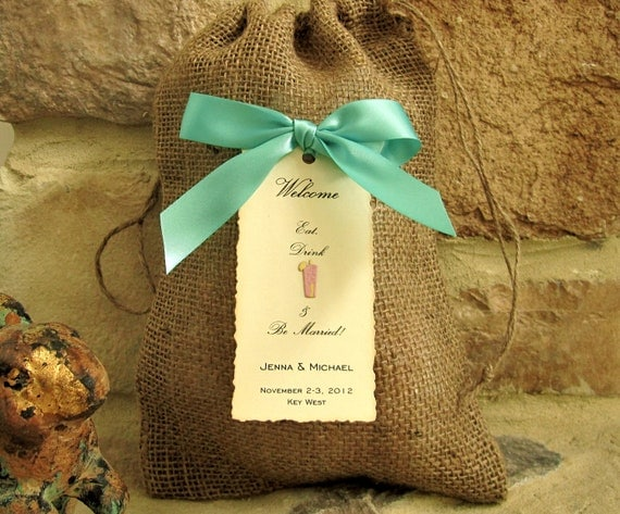 10 Burlap Wedding Welcome bags - 8 X 12 - Personalized - Destination wedding - Beach - Island