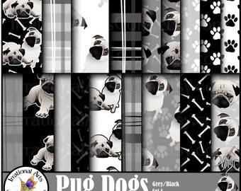 Pug Dog Grey/Black set 1 - 17 digital papers - pug dogs, paw prints dog bones and plaids [INSTANT DOWNLOAD]