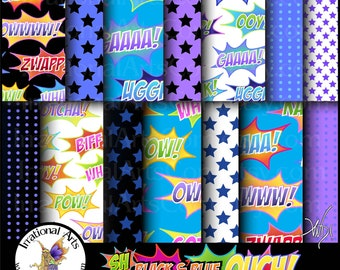 Super Hero Black & Blue OUCH set 1 INSTANT DOWNLOAD 14 digital papers blue black and purple Power Words papers